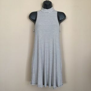 Black and White Stripe High Neck Tank Swing Dress